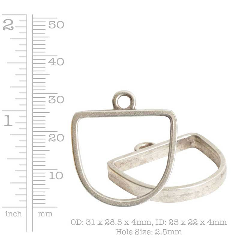 Nunn Design-Pewter-25x22mm Open Pendant Half Oval Single Loop-Antique Gold-Quantity 1