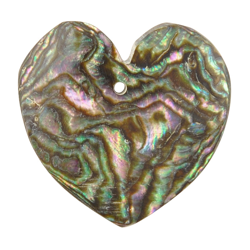 Pendants-25mm Iridescent Abalone Shell-Heart-Quantity 1