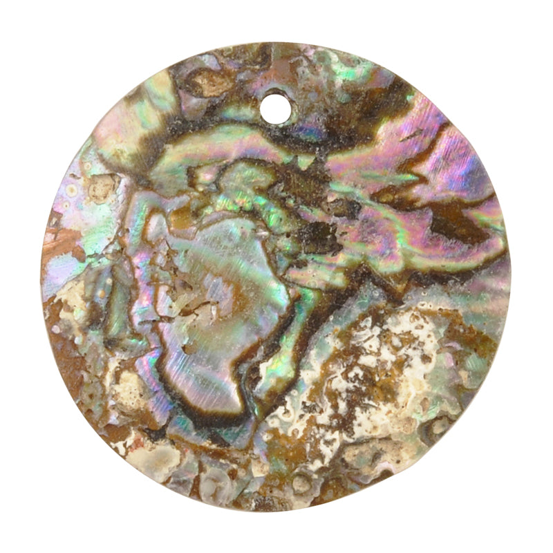 Pendants-25mm Iridescent Abalone Shell-Quantity 1
