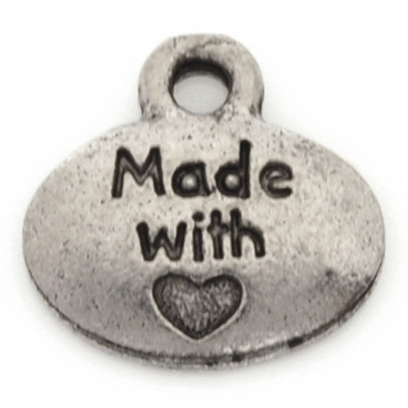 "Pewter-10.5x10.25mm ""Made With"" Heart Charm-Antique Silver"