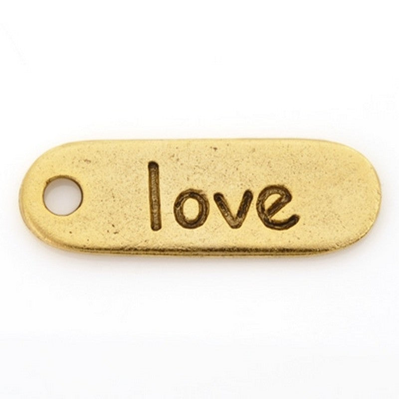 "Pewter-10x30mm ""Love"" Charm-Dog Tag-Antique Gold-Quantity 1"