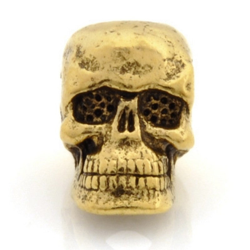 Pewter-10x7mm Skull Bead-Antique Gold-Quantity 1