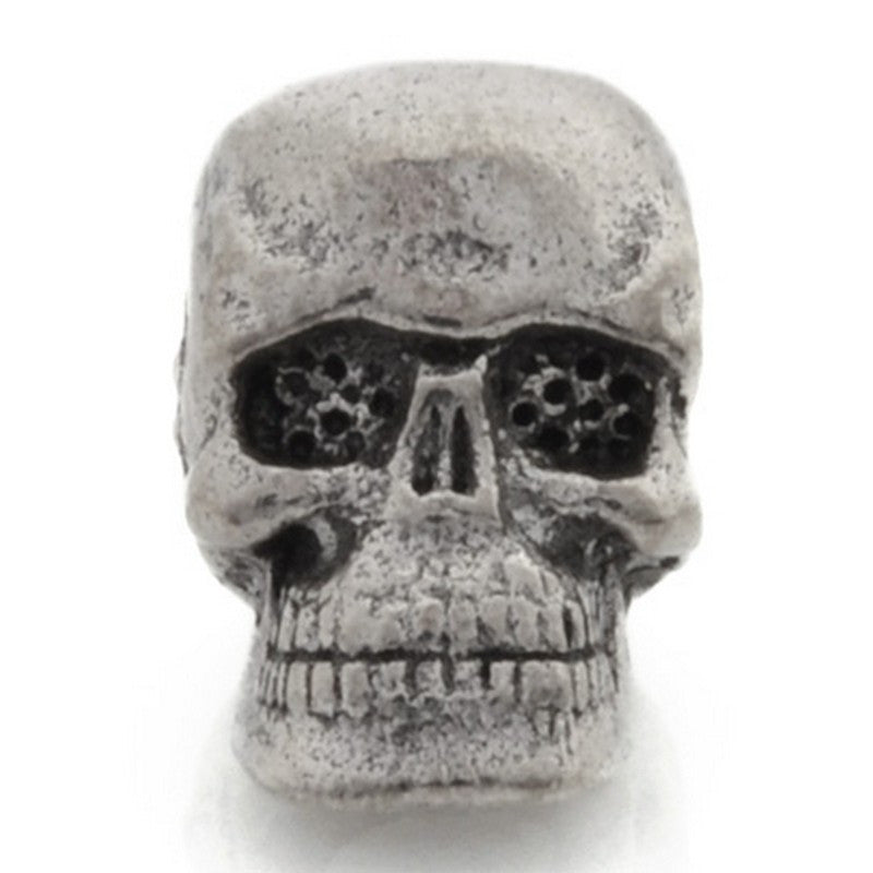Pewter-10x7mm Skull Bead-Antique Silver-Quantity 1