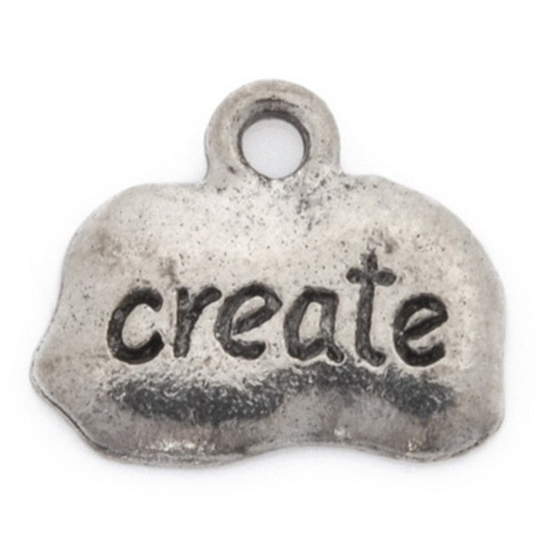 Pewter-11x14mm Create Tag Charm-Antique Silver-Quantity 1