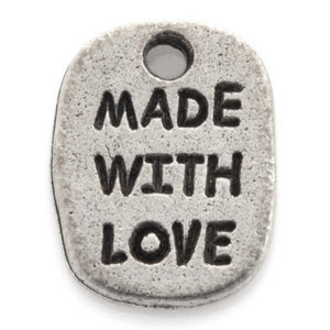 "Pewter-11x18mm ""Made With Love"" Charm-Antique Silver-Quantity 1"
