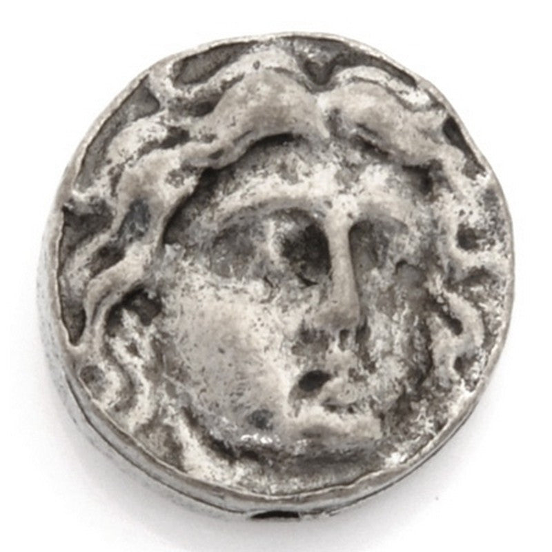 Pewter-12.5mm Coin Bead With Face-Antique Silver-Quantity 1