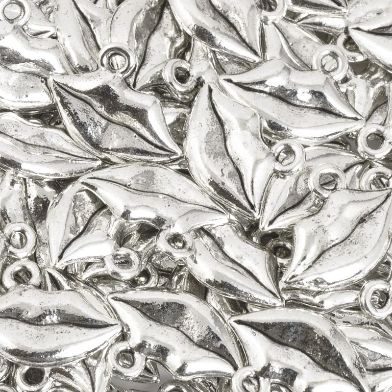 Pewter-13x15mm Lips Charm-Antique Silver-Quantity 1
