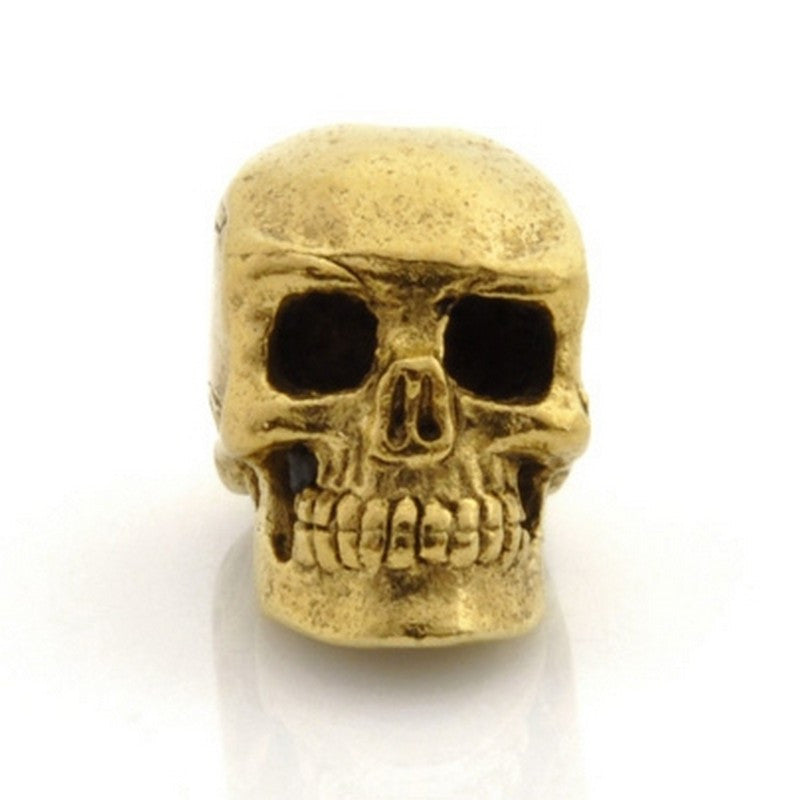 Pewter-15x13mm Skull Bead-Antique Gold-Quantity 1