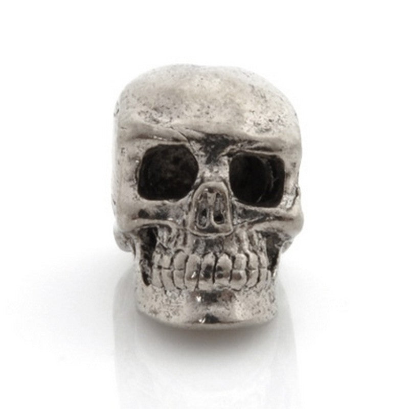 Pewter-15x13mm Skull Bead-Antique Silver-Quantity 1