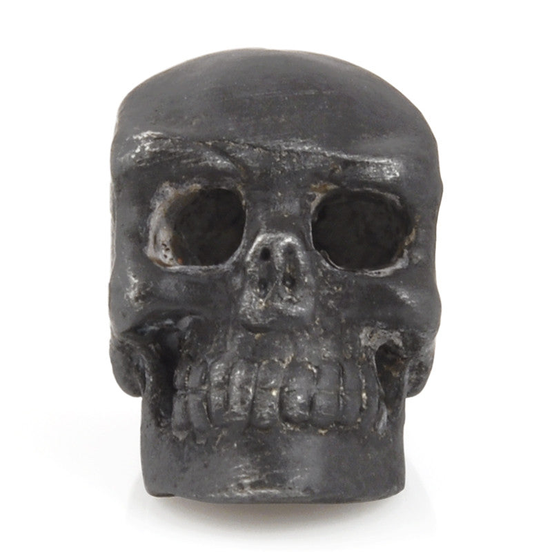 Pewter-15x13mm Skull Bead-Black Oxide