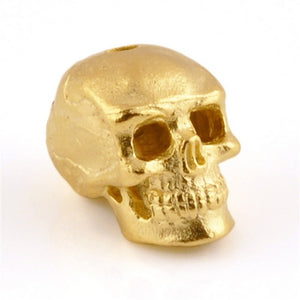Pewter-15x13mm Skull Bead-Matte Gold-Quantity 1