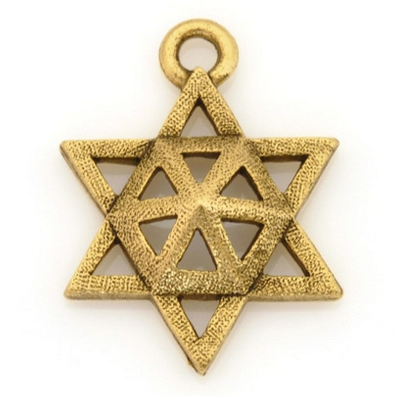 Pewter-15x20mm Pewter Star Of David Charm-Antique Gold-Quantity 1
