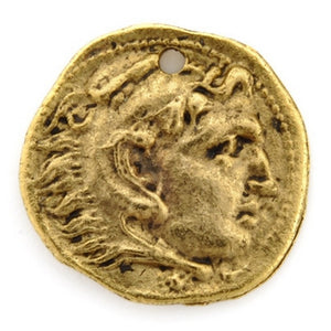 Pewter-16mm Roman Small Coin Charm-Antique Gold-Quantity 1