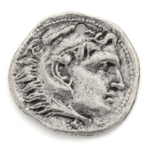 Pewter-16mm Roman Small Coin Charm-Antique Silver-Quantity 1