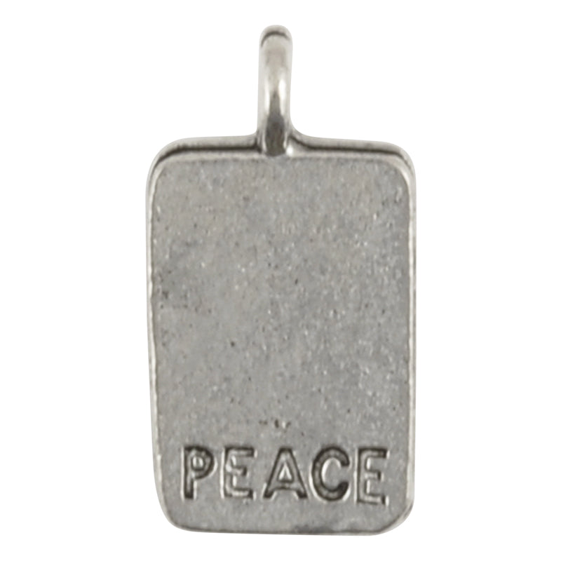 Pewter-17x10mm Chinese Peace Charm-Antique Silver-Quantity 1