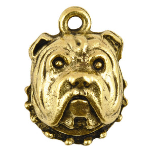 Pewter-17x13mm Bulldog Charm-Antique Gold