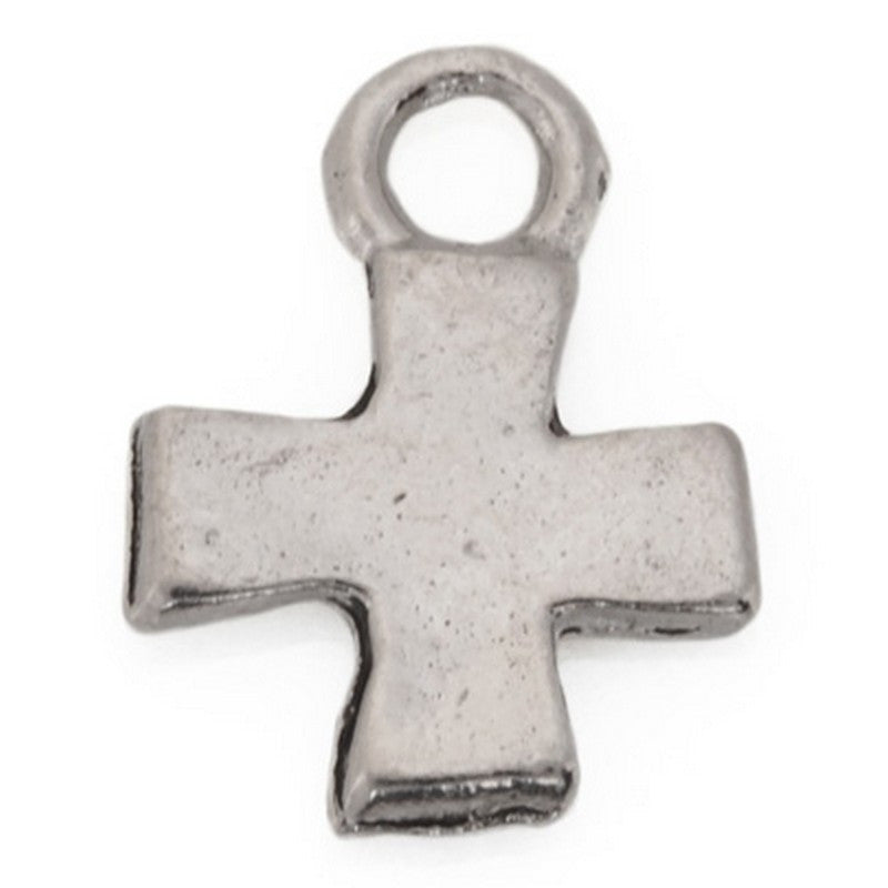 Pewter-17x14mm Pewter Tiny Cross Charm-Two Sided-Antique Silver