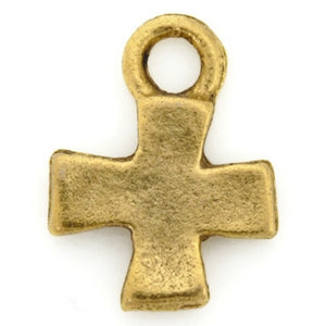 Pewter-17x14mm Tiny Cross Charm-Two Sided-Antique Gold-Quantity 1