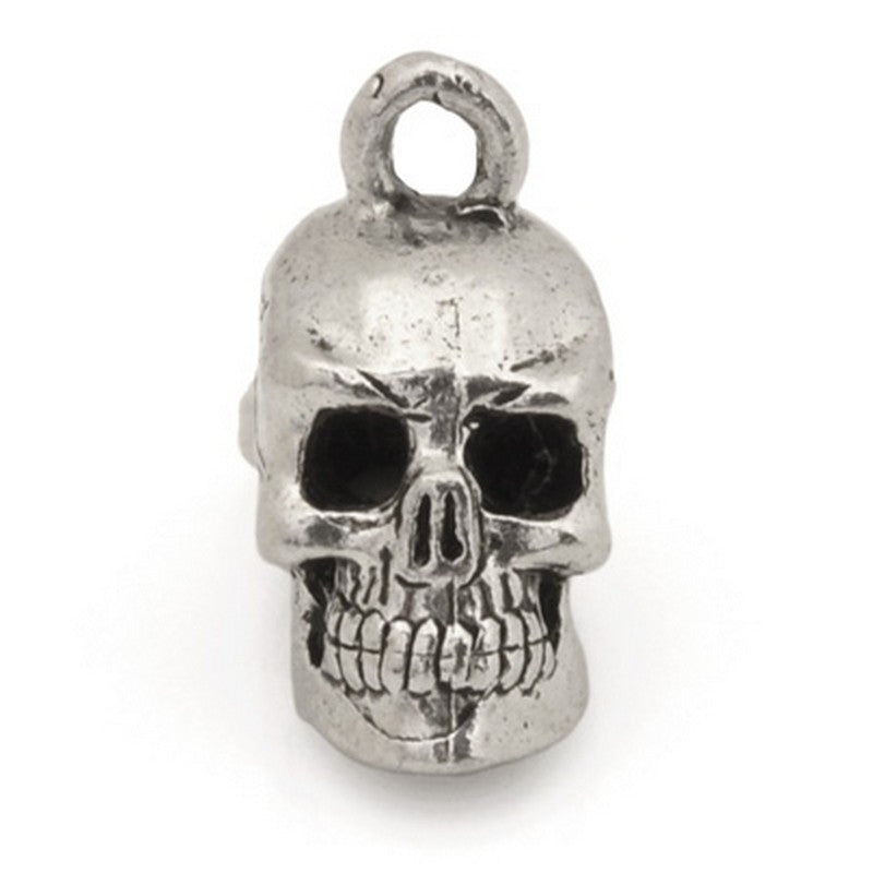 Pewter-17x8mm Pewter Skull Head Charm-3 Dimensional-Antique Silver
