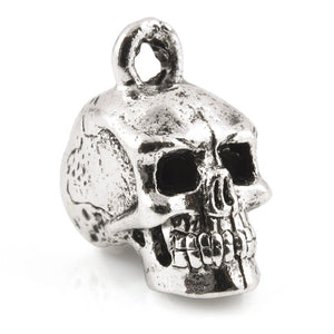 Pewter-17x8mm Pewter Skull Head Charm-3 Dimensional-Light Antique Sterling