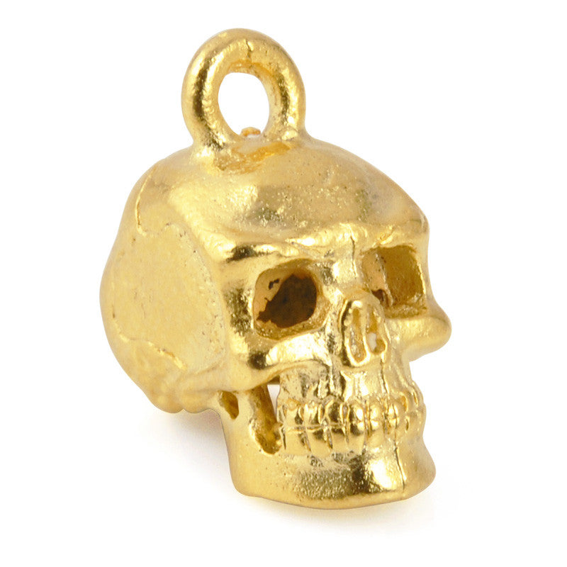 Pewter-17x8mm Skull Head Charm-3 Dimensional-Matte Gold