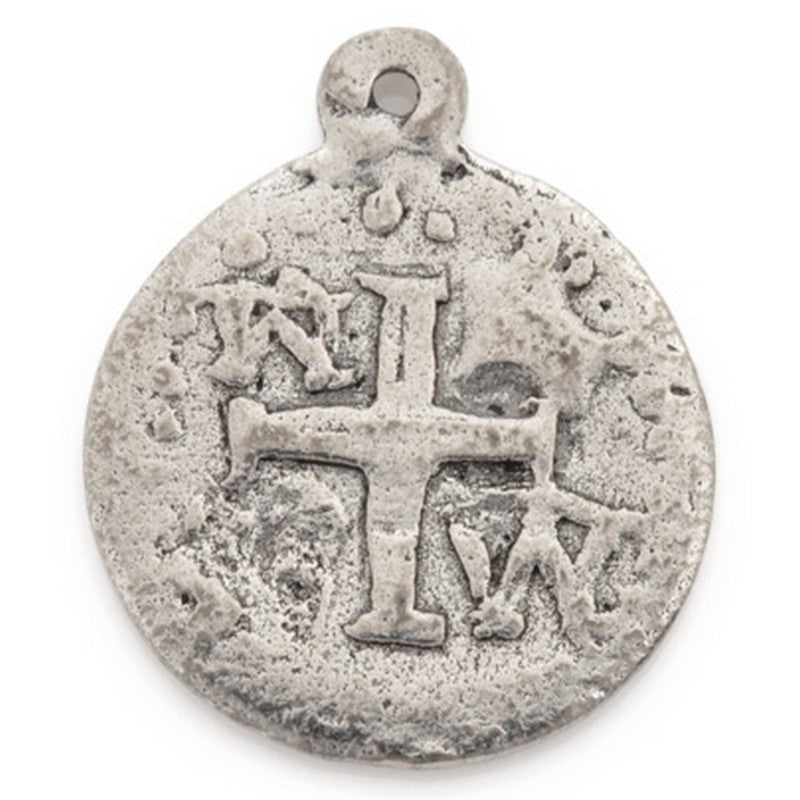 Pewter-18mm Ancient Disc With Cross Pendant-Antique Silver-Quantity 1