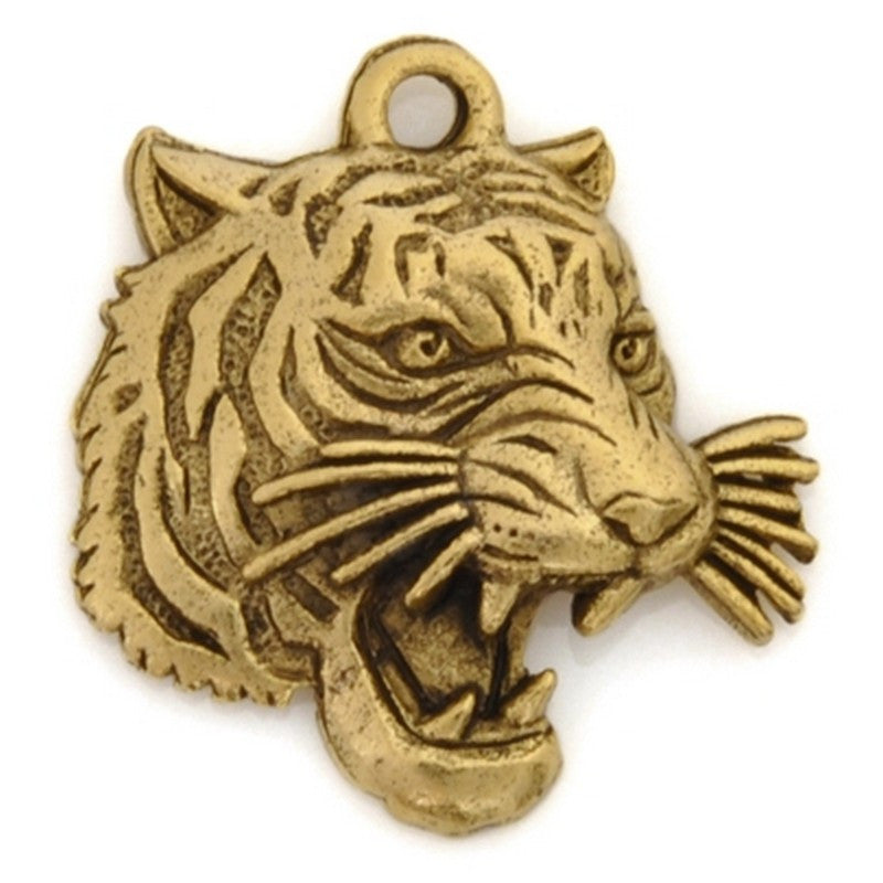Pewter-18mm Tiger Pendant-Antique Gold-Quantity 1