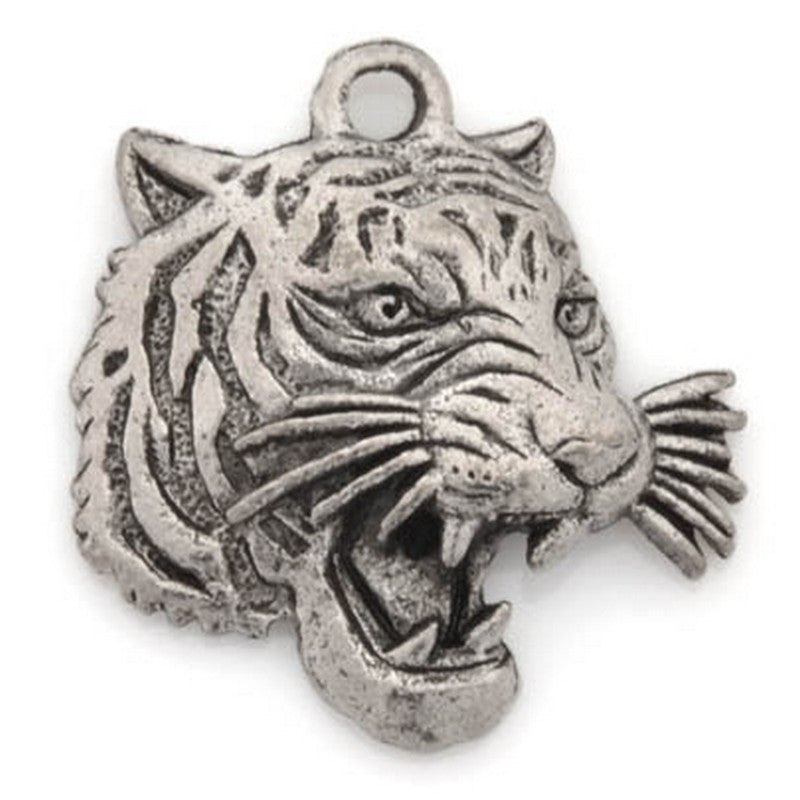 Pewter-18mm Tiger Pendant-Antique Silver-Quantity 1