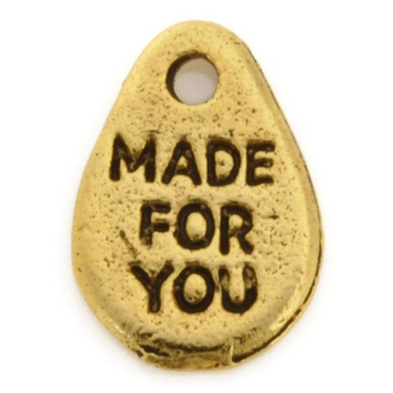 "Pewter-18x11mm ""Made For You"" Charm-Antique Gold-Quantity 1"