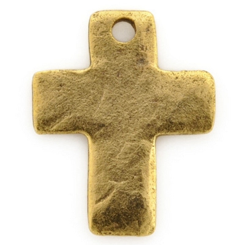 Pewter-18x15mm Simple Cross Charm-Antique Gold-Quantity 1