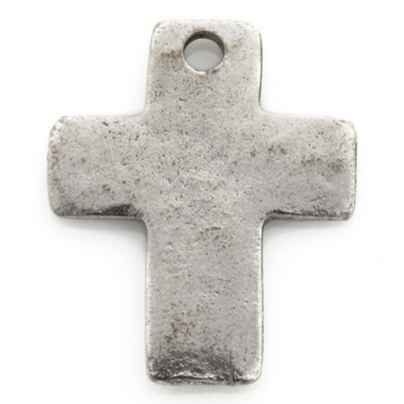 Pewter-18x15mm Simple Cross Charm-Antique Silver-Quantity 1