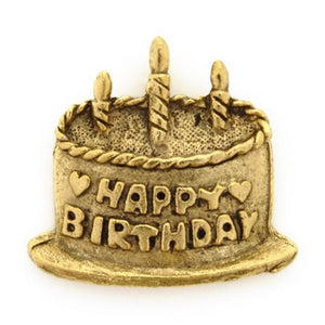 Pewter-19x20mm Birthday Cake Pendant-Antique Gold-Quantity 1