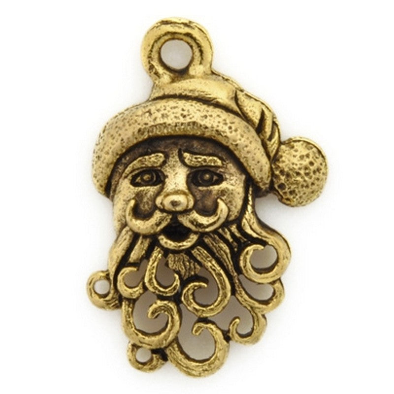 Pewter-20x14mm Santa Claus Charm-Antique Gold-Quantity 1