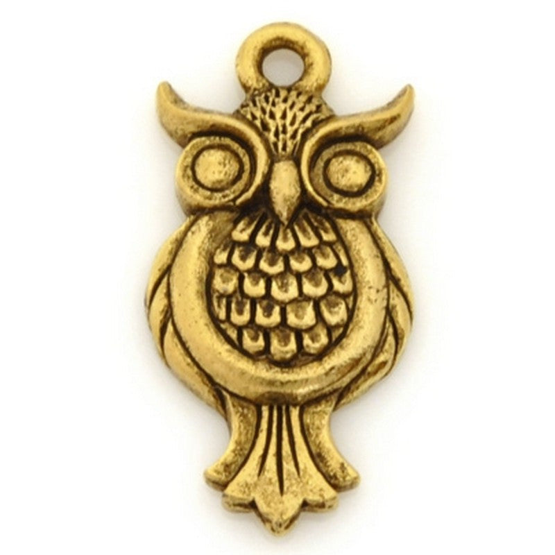 Pewter-21x12mm Owl Charm-Antique Gold-Quantity 1