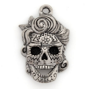 Pewter-21x15mm Skull Pendant-Ornate Pattern-Antique Silver-Quantity 1