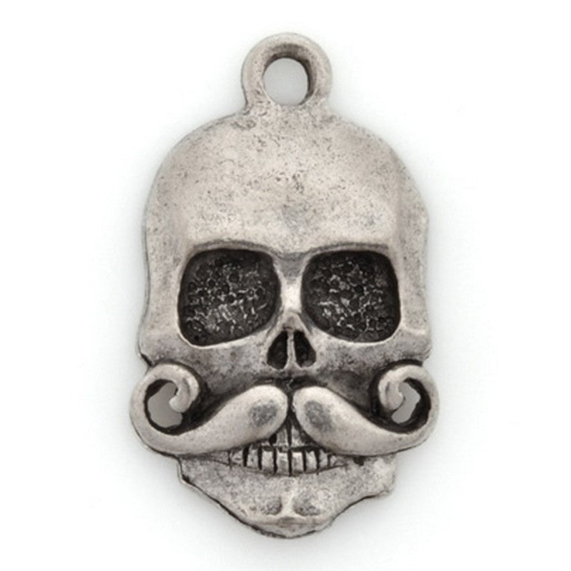 Pewter-21x15mm Skull Pendant With Mustache-Antique Silver