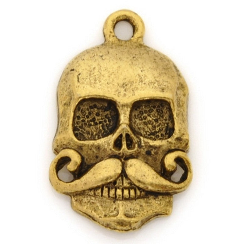 Pewter-21x15mm Skull With Mustache Pendant-Antique Gold-Quantity 1