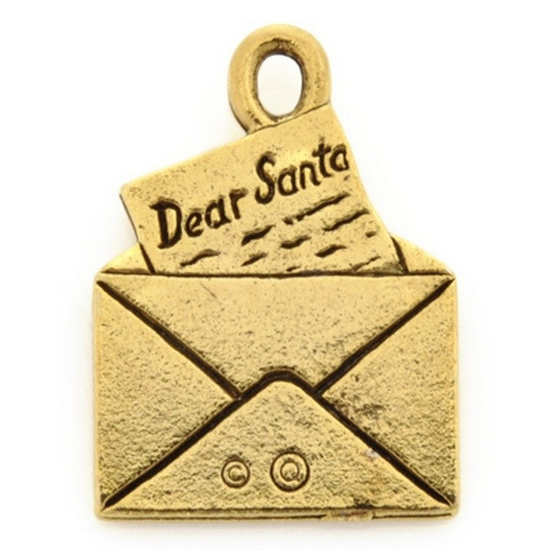 Pewter-21x16mm Letter To Santa Charm-Antique Gold-Quantity 1
