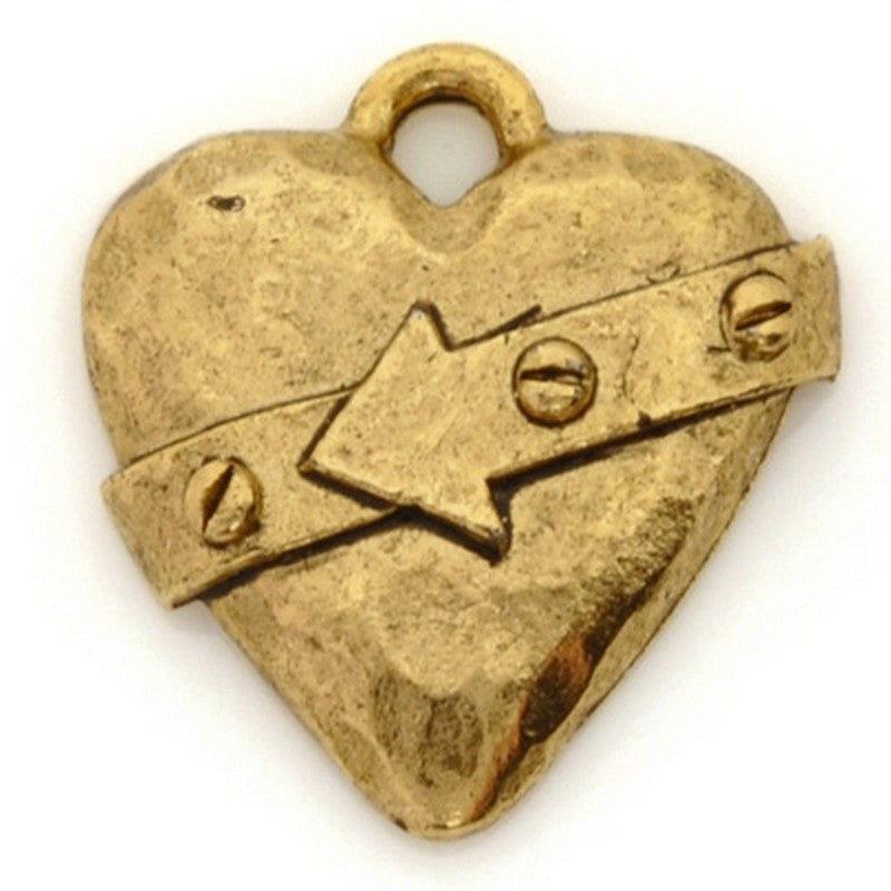 Pewter-18x20mm Hammered Heart With Belt Pendant-Antique Gold