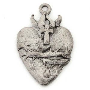 Pewter-21x31mm Sacred Heart Pendant-Antique Silver-Quantity 1