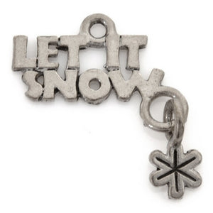 Pewter-22x14mm Let It Snow Charm-Antique Silver-Quantity 1