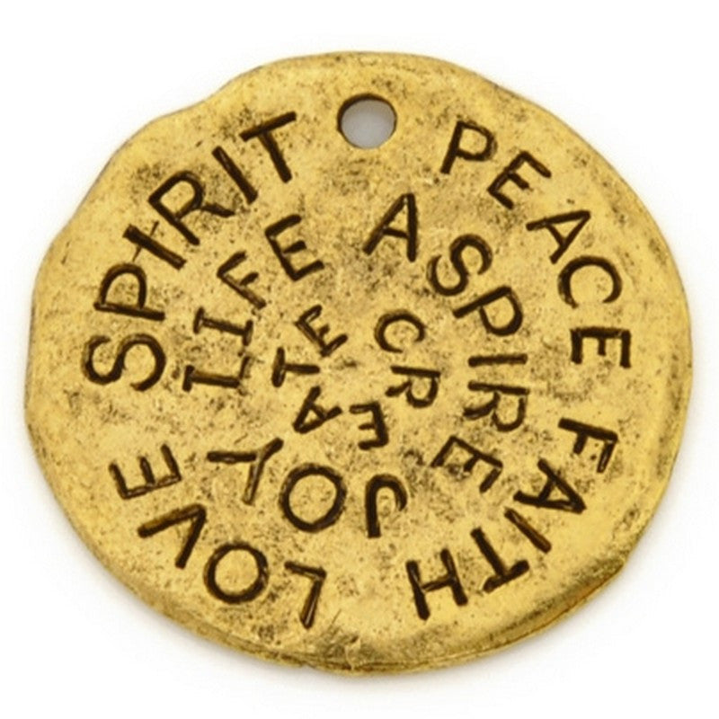 Pewter-23mm Disc-Love Spirit Peace Pendant-Antique Gold-Quantity 1