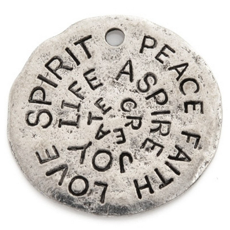 Pewter-23mm Love Spirit Peace Disc Pendant-Antique Silver-Quantity 1