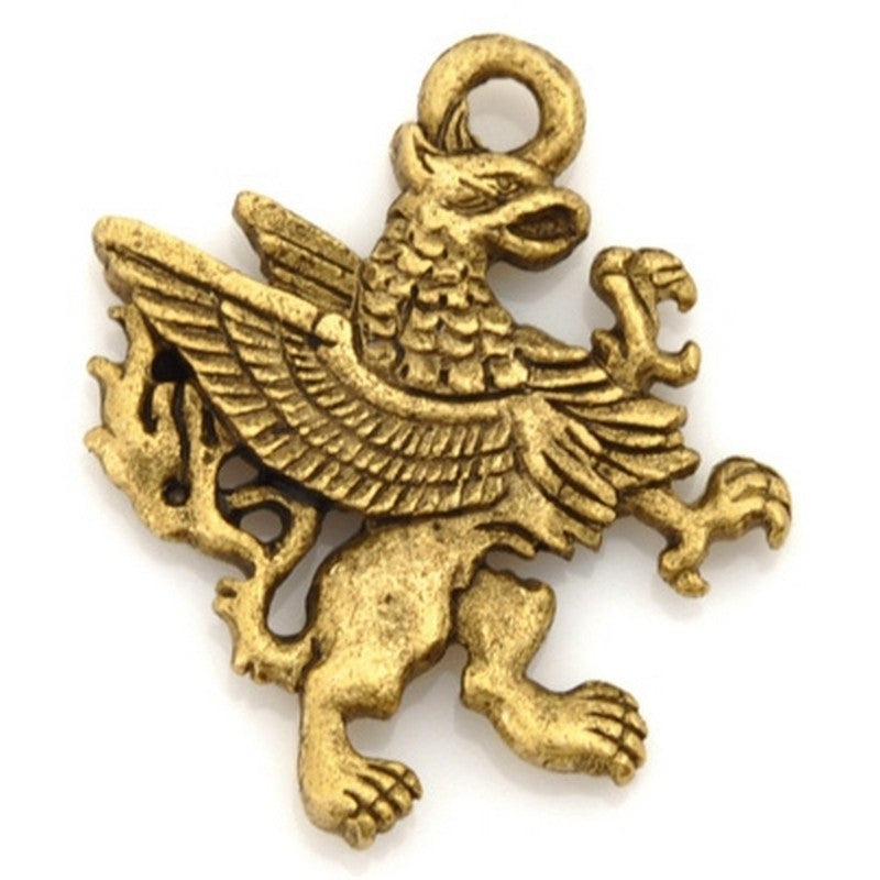 Pewter-23x20mm Griffin Charm-Antique Gold-Quantity 1
