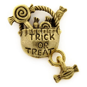 Pewter-24x20mm Trick Or Treat Bag Charm-Antique Gold-Quantity 1