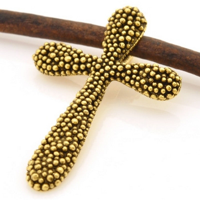 Pewter-24x38mm Pewter Cross With Tiny Granulated Bead-Antique Gold