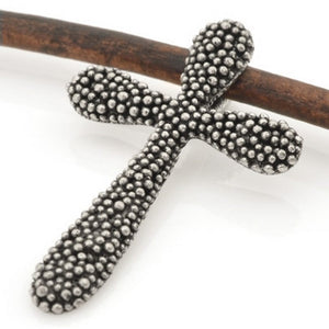 Pewter-24x38mm Pewter Cross With Tiny Granulated Bead-Antique Silver