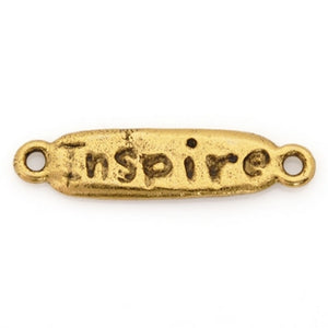 "Pewter-24x7mm ""Inspire""-Connector-Antique Gold-Quantity 1"