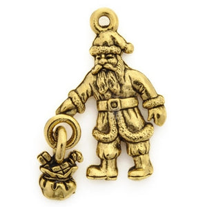 Pewter-28x20mm Santa Pendant-Antique Gold-Quantity 1
