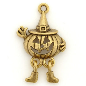Pewter-30x20mm Jack-O-Lantern Pendant-Antique Gold-Quantity 1